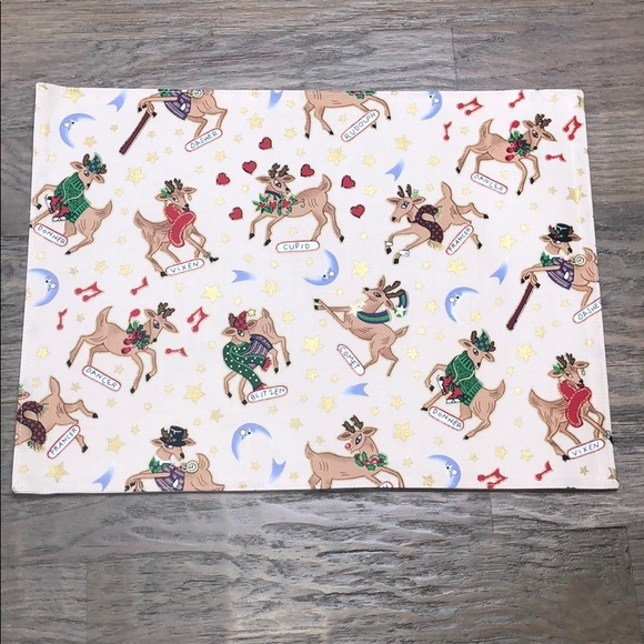 Rose Tree Other - Christmas Reindeer Cotton Placemats & Napkins